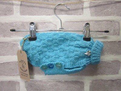 Hand knitted dog jumper – Basketweave pattern in blue
