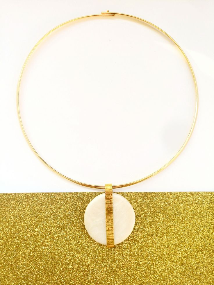 Statement Circle Short Necklace, White and Gold Geometric Polymer Clay Pendant on a Gold Metallic Neckring, Special Occasion Jewelry by BeeJouJoux on Etsy