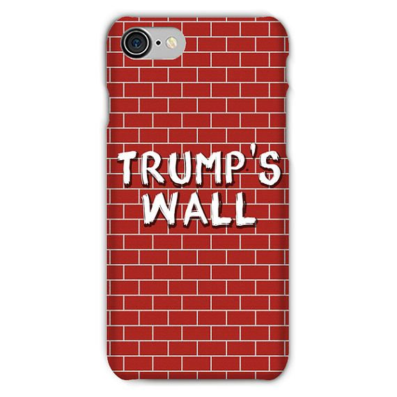 Trumps Wall Phone Case, Donald Trump Build a Great Wall Graphic iPhone Cover Funny Humor Gift President's Mexico Border Wall Gag America