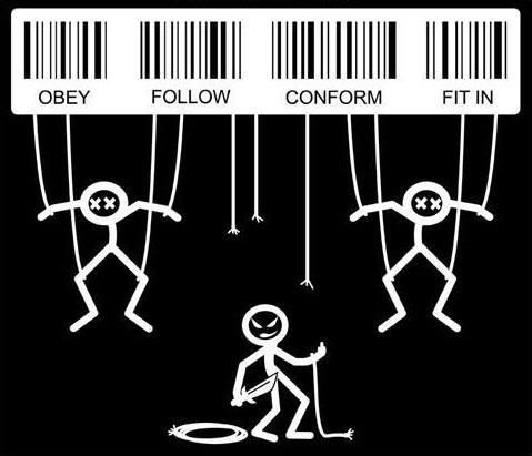 conforming to society In order to conform, the group member must attribute someone as having the   these authority figures that have been named are given their authority by society.