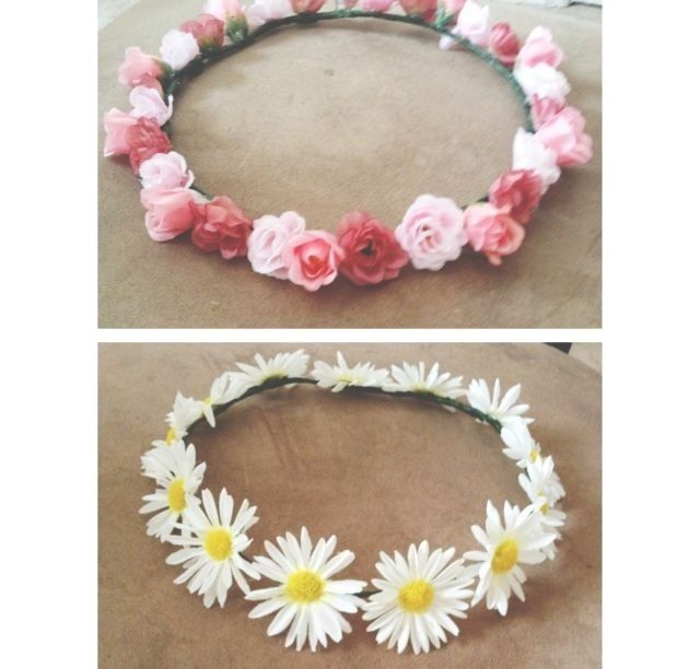 DIY flower headband for concerts etc.--real or fake flowers and hot glue.