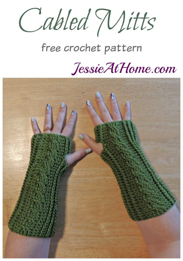 Cabled Mitts free crochet pattern by Jessie At Home