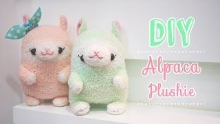 Hand-sewn alpaca plush made from a fuzzy sock!