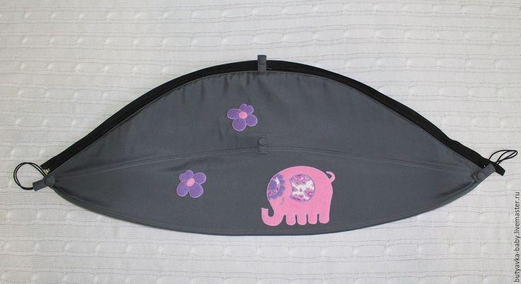 """Купить Дополнительный кап на коляску """"Индийский слоник"""" - серый, рисунок, слоник, кап, капор"""
