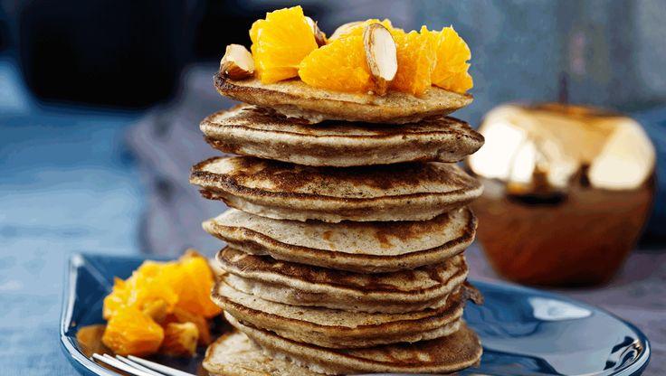 Julebrunch: Bananpandekager med klementinsalat - for christmas morning