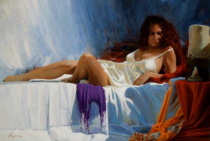 La mujer del pelo rojo II by Jose Higuera  figurative painting 81x116 oil on canvas. http://www.josehiguera.com  · http://www.facebook.com/joseyhiguera
