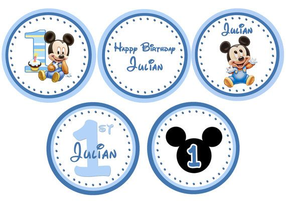 Baby Mickey Mouse 1st Birthday Cupcake Toppers