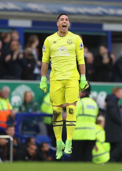 Joel Robles of Everton celebrates during the Premier League match between Everton and Hull City at Goodison Park on March 18, 2017 in Liverpool, England.