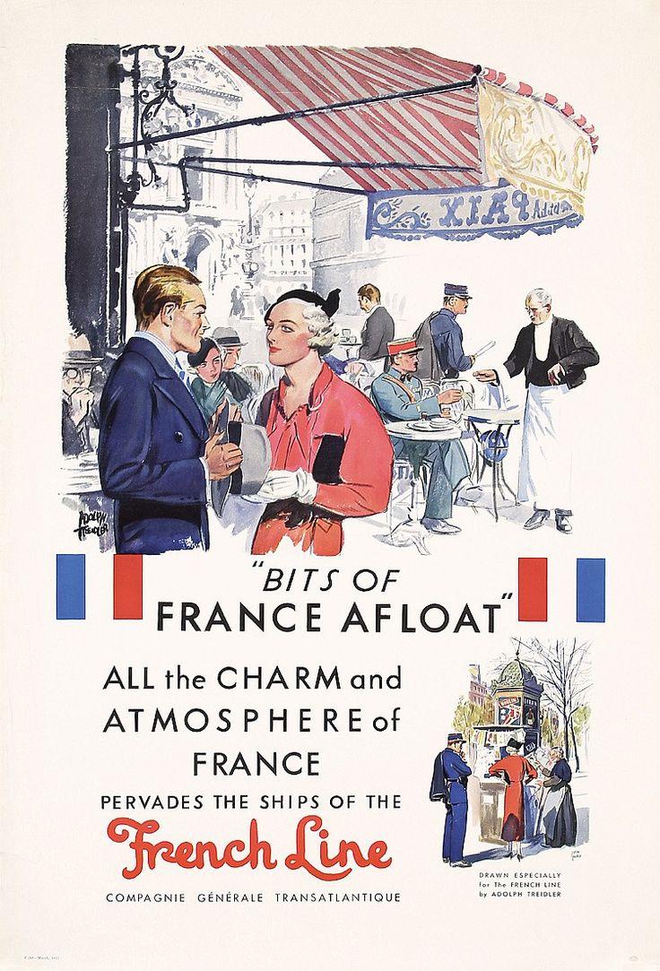 Original 1930s French Line Travel Poster TREIDLER Art