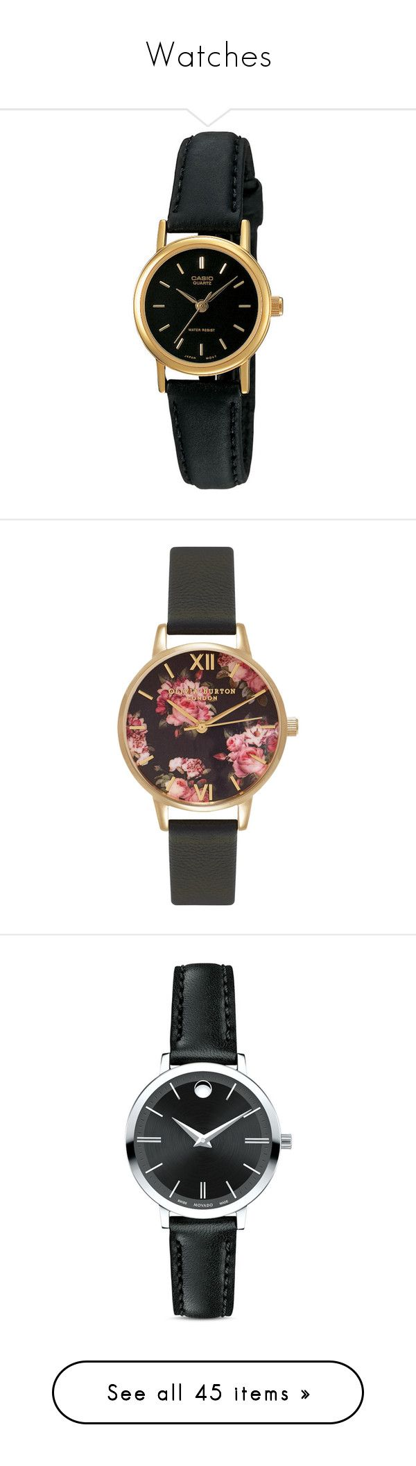"""""""Watches"""" by smilxngstars on Polyvore featuring jewelry, watches, black, leather watches, womens watches, analog watches, casio wrist watch, casio, water resistant watches und accessories"""