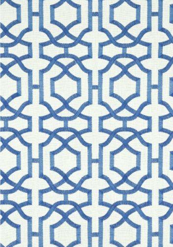 alston trellis embroidery #fabric in blue on white #thibaut