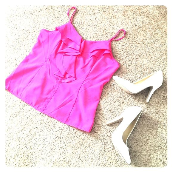 Hot pink top  Super cute hot pink top! Worn a couple of times & had many compliments. Smoke free, pet free home. Offers welcome! Tops