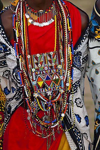 Africa | Details of the colour beadwork of the Masai Women, Kenya. | ©Darrell Gulin