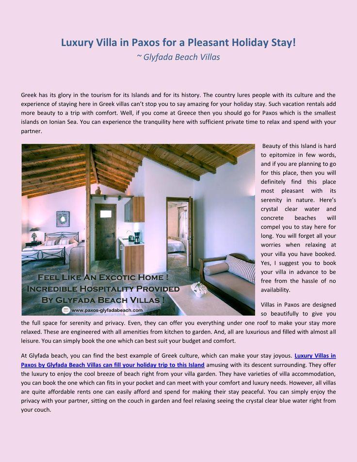 Luxury Villa in #Paxos for a Pleasant Holiday Stay! #GlyfadaBeachVillas