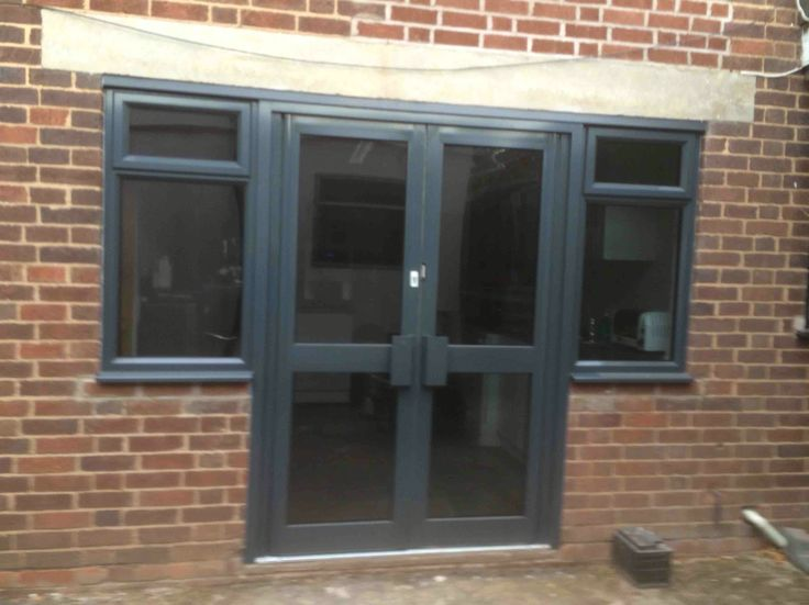 Commercial Double Doors And Flag Windows In Ral 7016 Grey