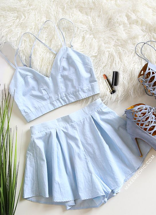 Cotton Tank Pleated Matching Set SKY BLUE