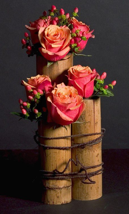 Beautiful Roses with Bamboo
