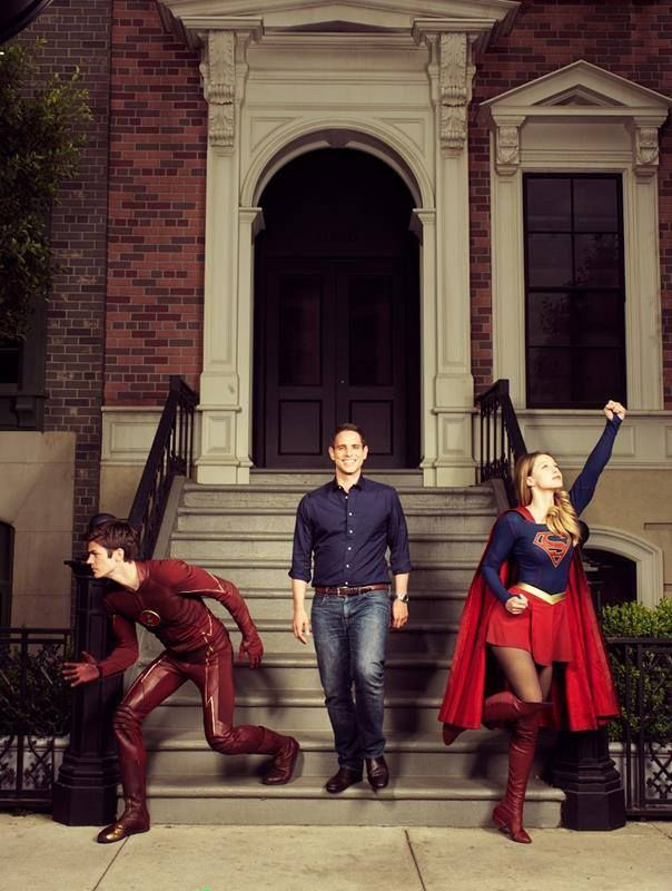 Grant Gustin (The Flash) Melissa Benoist (Supergirl) & DC TV mastermind Greg Berlanti.