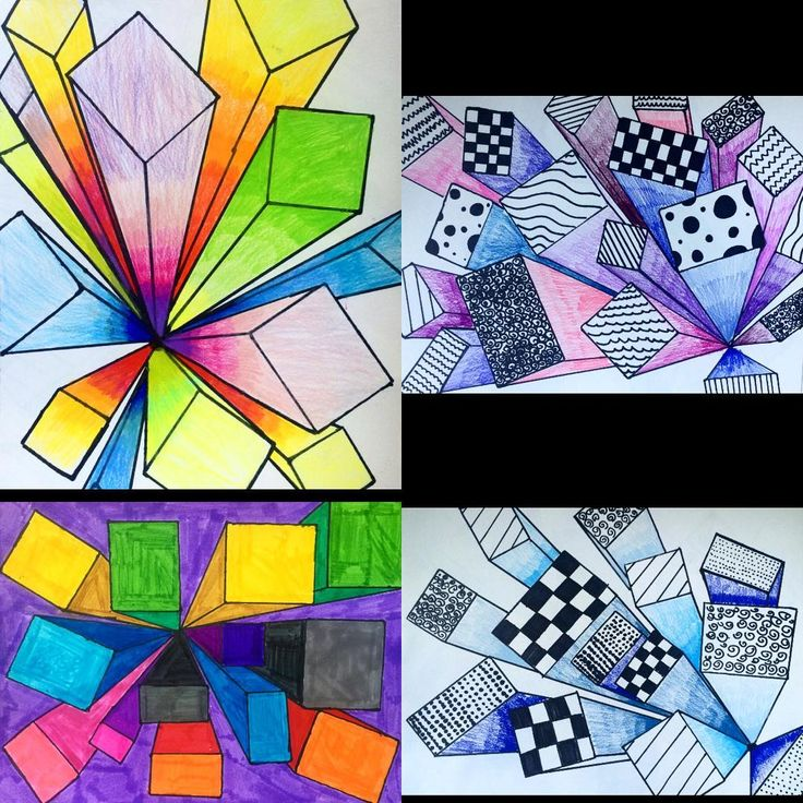 Because I teach it 6 times, I have to change it up! Their choice of media! #teachingart #artteachersofinstagram #perspectivedrawing #drawingin3d #onepointperspective #vanishingpoint #5thgradeart #artlesson #coolartwork #amazingart #coloredpencil #designs