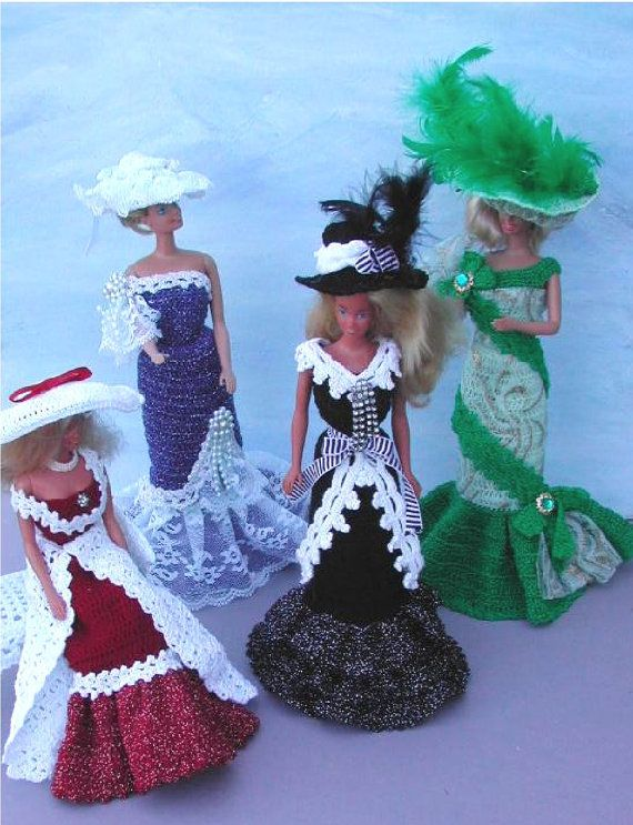 Crochet Fashion Doll Barbie Pattern- #306 OLD FASHIONED EVENING gowns magazine