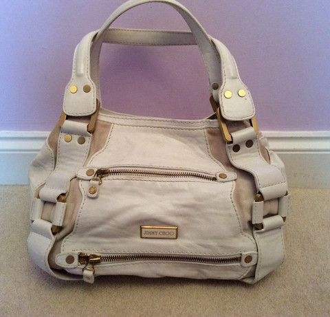 JIMMY CHOO WHITE & CREAM LEATHER/SUEDE MAHALA BAG - Whispers Dress Agency - Shoulder Bags - £295