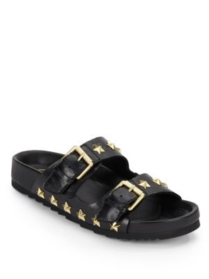 ASH United Star-Studded Leather Slide Sandals. #ash #shoes #sandals