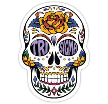 Tri sigma sugar skull sticker! Available on iPhone and android cases too.