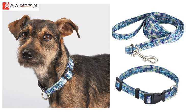 Fully sublimation-dyed, step & Repeat logo pet leash and collar. Heavy-duty polyester webbing. www.aaadvertising.com