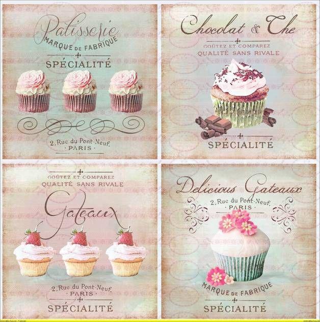Vintage Shabby Bügelbild Schokolade Cupcake...
