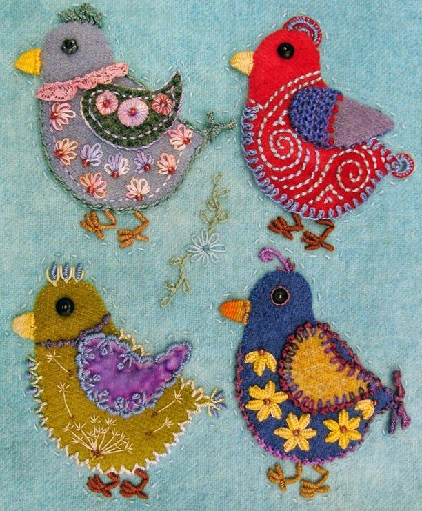 Robin Atkins, chicks, wool applique, bead and thread embroidery, hand quilting