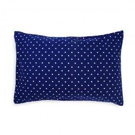 ARRO Home: • Cotton poplin pillowcase in navy with white custom 'Small Squares' print  • Dimensions: 48cm x 73cm