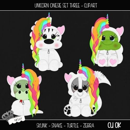 Unicorn Onesie Set 3 - Clipart by kirsty smith This is a set of 4 seperate cliparts. Unicorn, Animal, Fantasy Themed They are all seperate…
