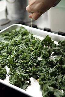 Kale Chips awesome! i make these all the time. Just kale, olive oil, and garlic salt, pop them int he oven at 400 for 15 min and they are delish!