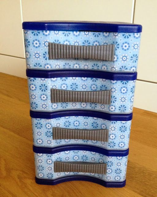 Rebekka's craft room: How to decorate plain plastic drawers with nice paper
