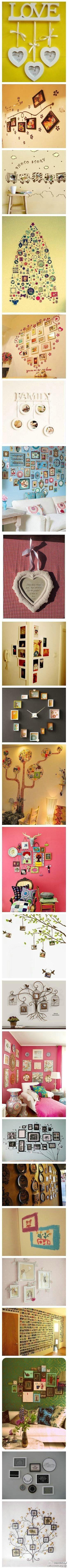 Ways to hang pictures on the wall. - Maneras de colgar fotos en la pared.