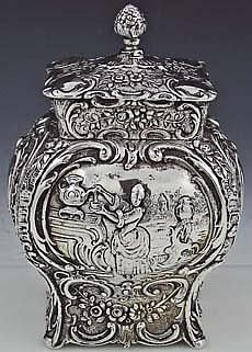 German antique 800 silver tea caddy bombe shape