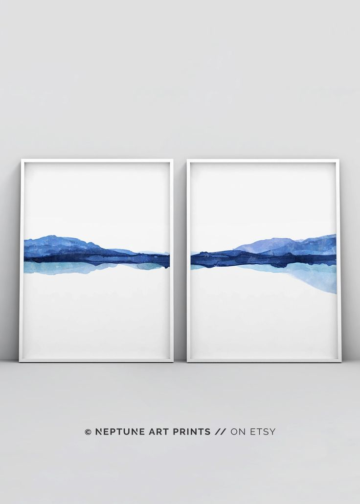 LANDSCAPE Art Picture Teal Cream Lake Mountain Canvas Wall Print 20 x 30