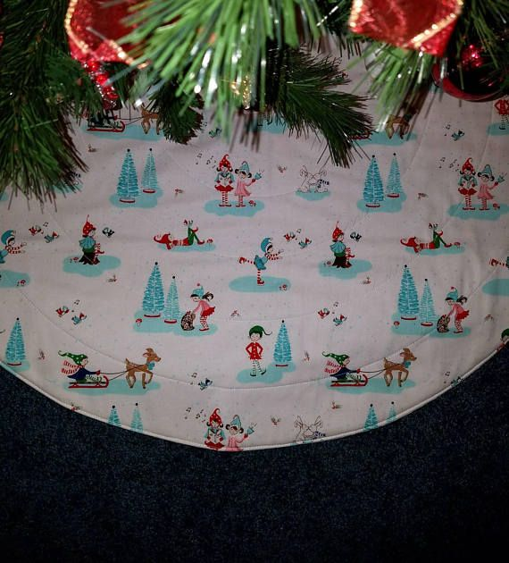 Pixie Elf Christmas Tree Skirt Handmade Quilted And Measures