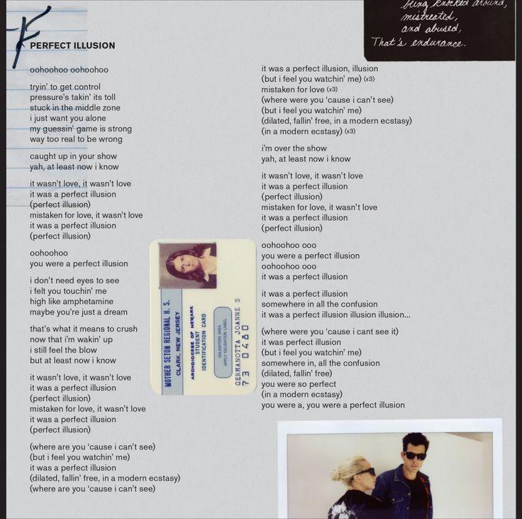 Lyric illusions lyrics : 23 best JOANNE images on Pinterest | Lady gaga joanne, Lady gaga ...