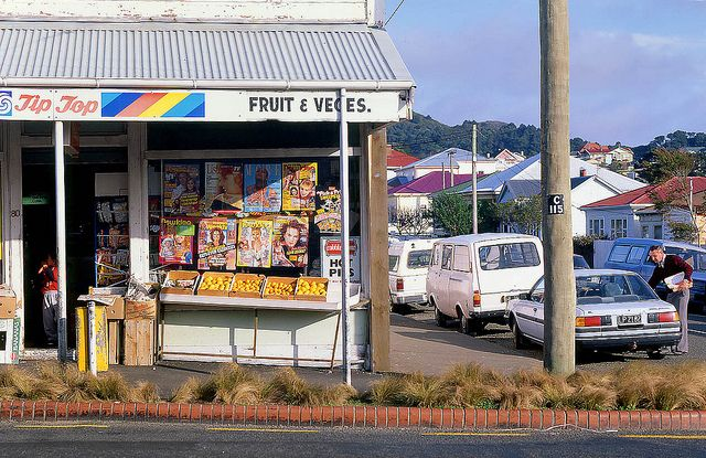 Dairy, Newtown, Wellington, New Zealand 1992 by travelling-light, via Flickr