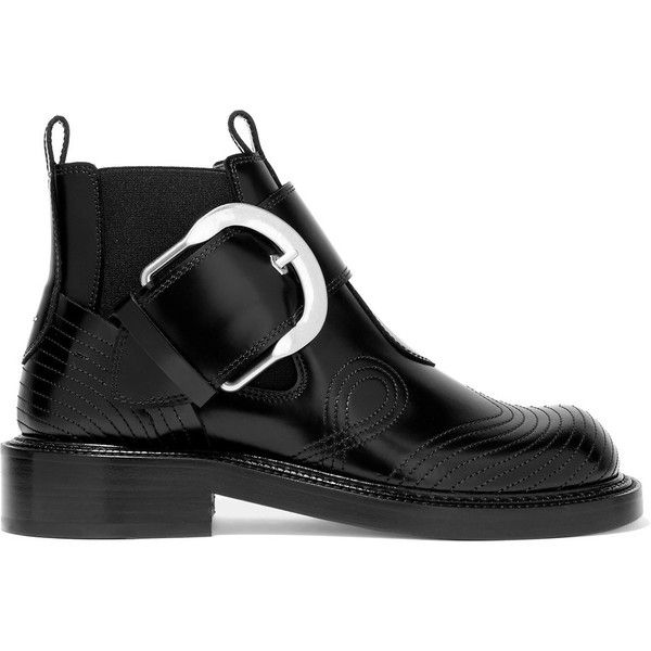 Maison Margiela Leather ankle boots (£700) ❤ liked on Polyvore featuring shoes, boots, ankle booties, black leather boots, black ankle booties, ankle boots, black leather bootie and black bootie boots