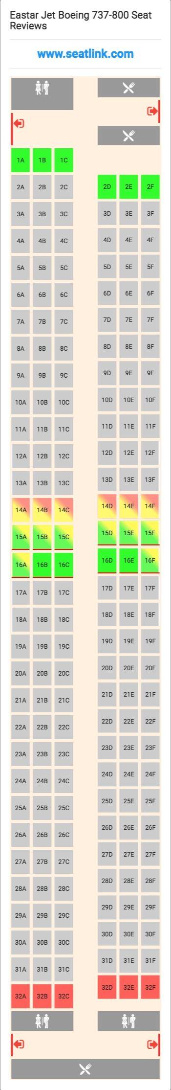 Eastar Jet Boeing 737-800 (738) Seat Map
