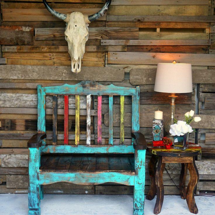 Zarape Rustic Bench| Sofia's Rustic Furniture