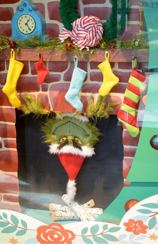 The Grinch Holiday Window at The Grand America Hotel. Artist: Jonnie Hartman