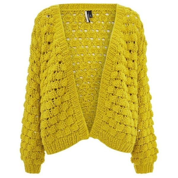 Women's Topshop Bobble Stitch Cardigan (1,600 EGP) ❤ liked on Polyvore featuring tops, cardigans, stitch top, topshop tops, yellow cardigans, knit top and yellow knit cardigan