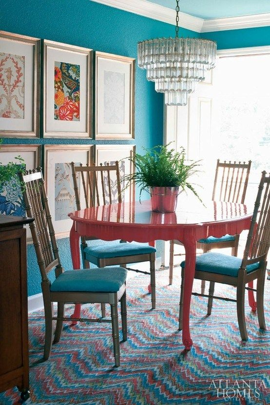 Turquoise And Red Dining Room