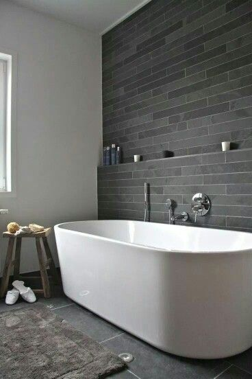 grey accent wall, with white walls