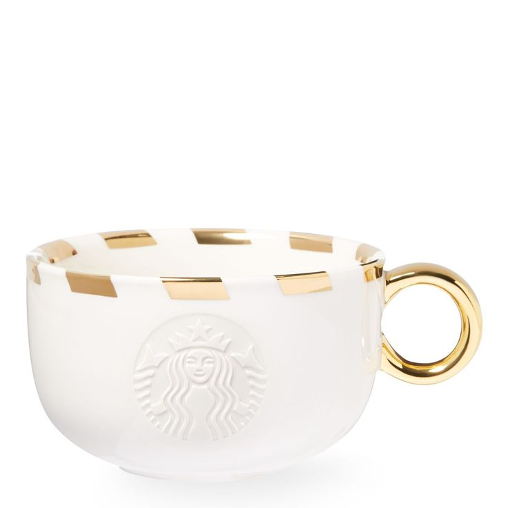 A white ceramic mug with a golden handle, striped gold rim and embossed Siren logo.