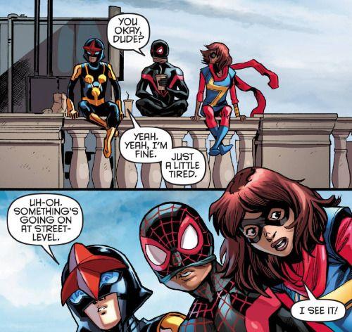 Nova (Sam Alexander), Spider-Man (Miles Morales) and Ms. Marvel (Kamala Khan) in Nova Vol 6 #3 (2016) Cory Smith