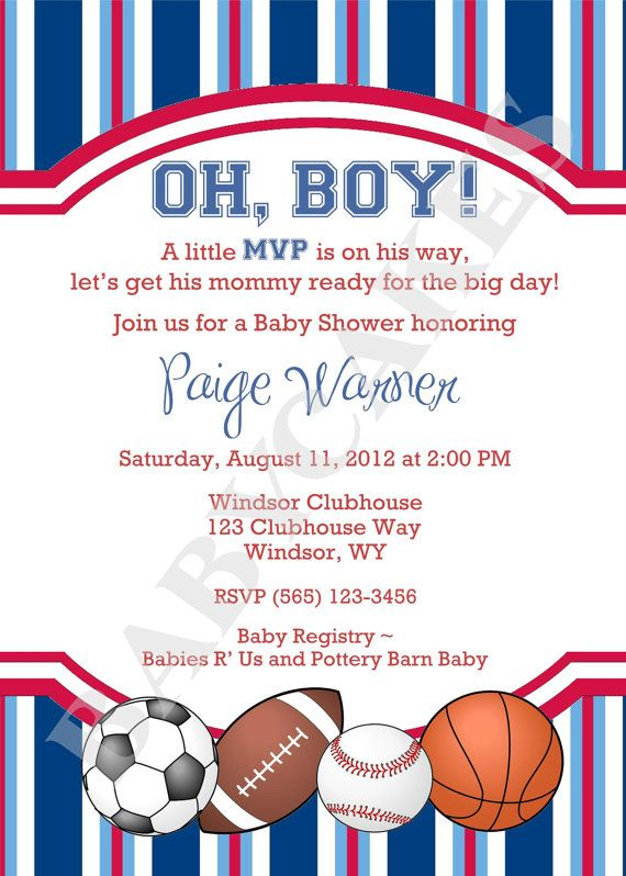 Sports Theme Baby Shower Invitation  DIY Print Your by jcbabycakes, $12.00